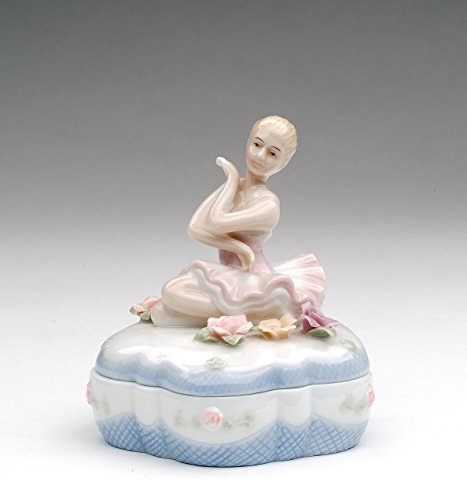 (Cosmos Gifts 96380 Fine Porcelain Ballerina Ballet Girl Ballet Dancer Pose Trinket Box, 3-1/2