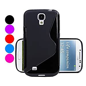 MOM S Shape Texture TPU Soft Back Case For Samsung Galaxy S4 I9500 (Assorted Colors) , Blue