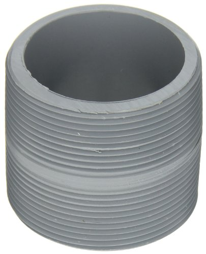 """GF Piping Systems CPVC Pipe Fitting, Close Nipple, Schedule 80, Gray, 2"""" NPT Male, 2"""" Length"""