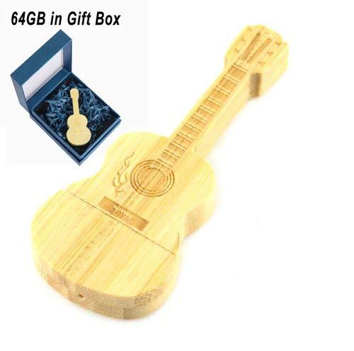 (Cute USB Flash Drive 64GB, Aretop USB2.0 Cute Cartoon Miniature Wooden Guitar Shape USB Memory Stick Pendrive for Computer 64GB Thumb Drive USB Jump Drive Data Storage Business Gift for Girls Ki)