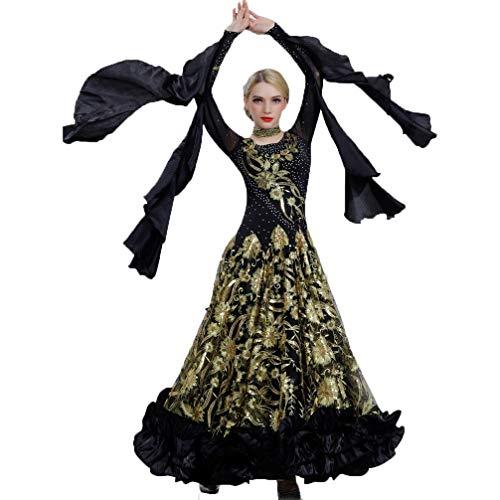 Paillettes Costume Abito Wqwlf Della Grande Danza Da Ballo Black m Vestito Sala Swing Delle Maniche Con Xl Valzer Moderna Lunghe Concorrenza Donne S7SUPBqWw