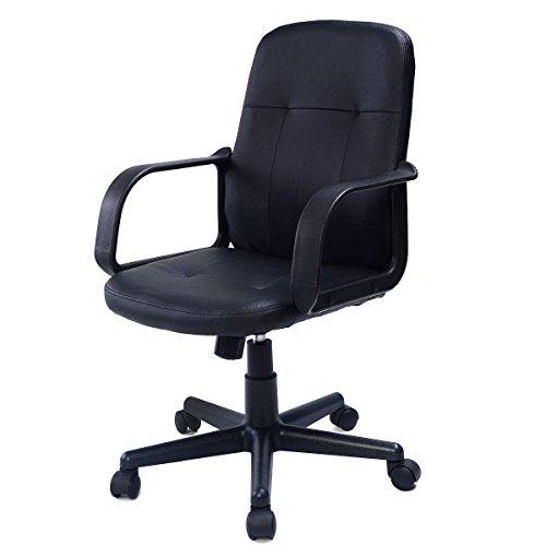 PU Black Leather Ergonomic Midback Executive Computer Desk T