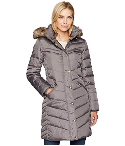 Michael Michael Kors Women's Snap Front 3/4 Down with Hood M823172G Flannel Medium ()
