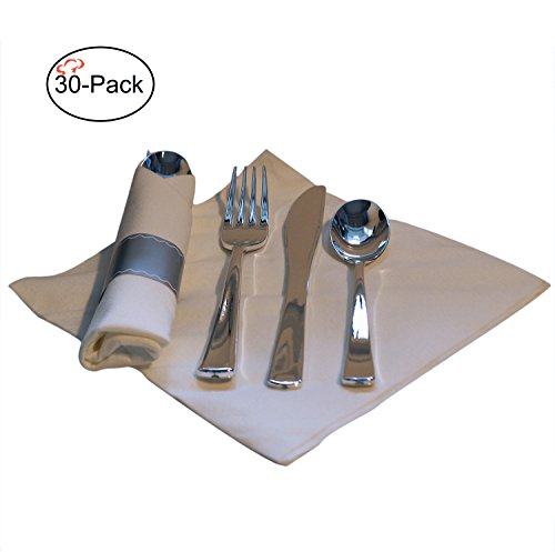 Tiger Chef 30-Pack 16-inch Pre Rolled Cutlery in Linen-Feel White Napkins and Silver Heavy Weight Plastic Silverware with Napkin Band Set, Includes Forks, Spoons and Knives in Rolled Napkins- BPA-free (Linen Weight)