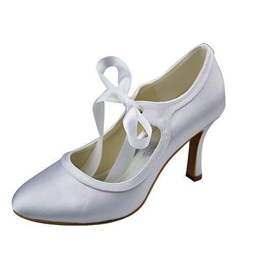 Kevin moda Ronda Toe Tacón Lazo Mary Jane bombas de encaje vestidos de novia zapatos de boda Satin-Ivory