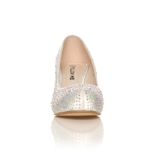 ANNIE White Satin Kitten Mid Heel Diamante Evening Court Shoes TEkcz