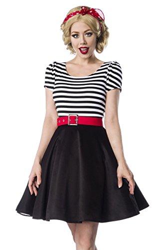 Jersey Rockabilly Kleid Weiß 1950 Retrokleid Retro Rundhals Streifen Gürtel Schwarz 50er Sexy Z0WHU4q4