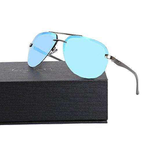 Aluminium de Gafas para hombre sol 64mm Lente polarizada Co G15 amp; Azul Temple Natwve Aviator BxxrvU
