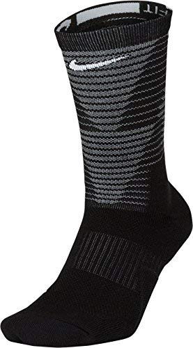 Nike Elite Disrupter 1.5 Cushioned Basketball Crew Socks Black/White 8-10 (M) 10-13 (W)