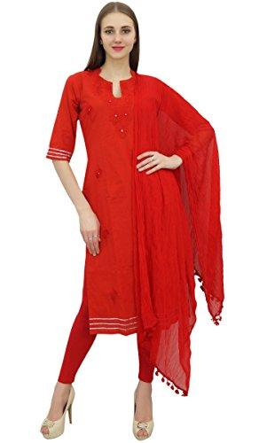 Dress Readymade Kameez Atasi Ricamato Salwar Cotone Rosso Vestito Salwar 10 Pantaloni pwqngZFa