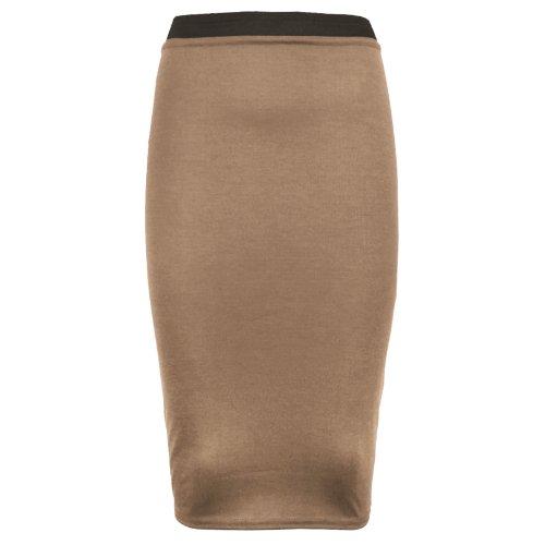 asfashion online - Falda tipo lápiz elástica, cintura alta, tallas 34 - 36- 38 - 40 -42 moca