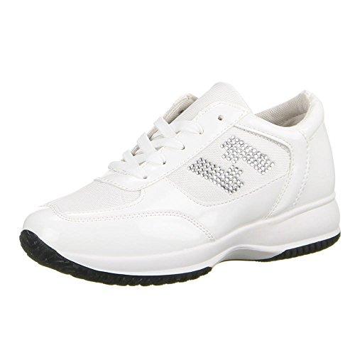 Ital blanco Design baja zapatilla Mujer Blanco qHxSaHwrX