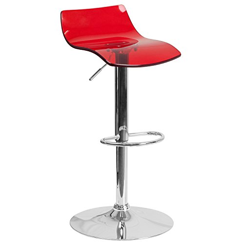 Flash Furniture Contemporary Transparent Red Acrylic Adjustable Height Barstool with Chrome Base Contemporary Round Upholstered Chair
