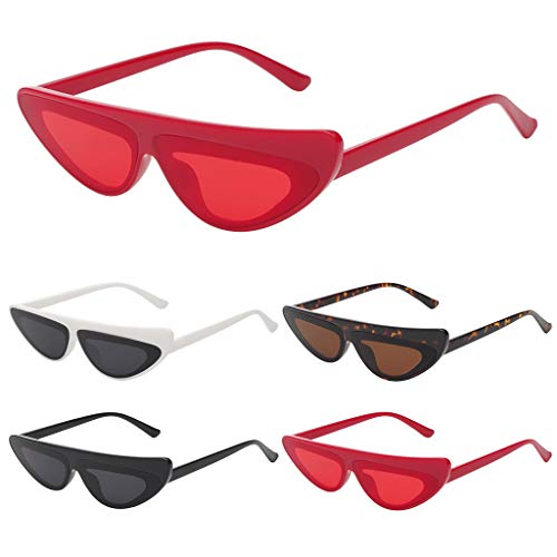 Haluoo Vintage Cateye Sunglasses Unisex Women Fashion Retro Narrow Cat Eye Eyewear Clout Goggles Plastic Frame Glasses (Red)