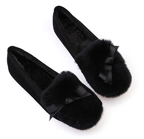 Qzunique Dames Comfortabele Elegante Mocassin Pantoffels Ronde Neus Platte Instappers Schoenen Met Strik Decor Zwart