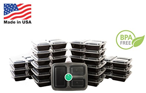 Meal Prep Containers | 3 Compartment | USA Made | Bento Box | 150 Pack Food Storage Lunchbox