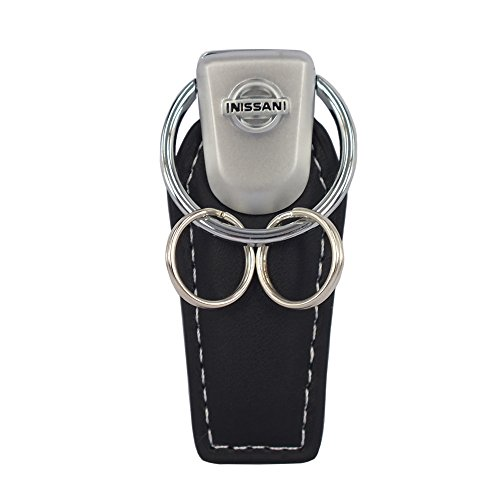 Concept New Black Quality Leather Strap Attachable Key Chain Double Ring Fit Use For Nissan Model Car Auto Key Accessories (Auto Key Ring Leather)
