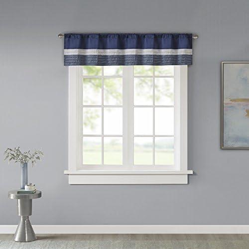 Amherst Polyoni Pintuck Teal Gray Window Valance Modern Rod Pocket Valances For Windows 50x18 Navy Home Kitchen Amazon Com