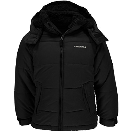 (London Fog Toddler Boy's Black Hooded Bubble Jacket With Teddy Faux Fur Lining L217851 Outerwear, black, 3T)