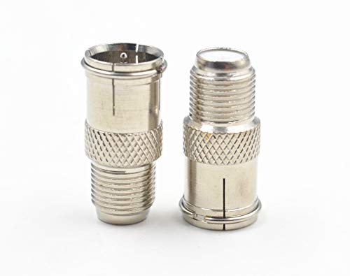 F Type Male to Female Push adatper,F Type RG6 Coax Coaxial Cable Connector Adaptor, Male to Female Gender Change Connector Pure Copper (2Pack, F-M Push Straight)
