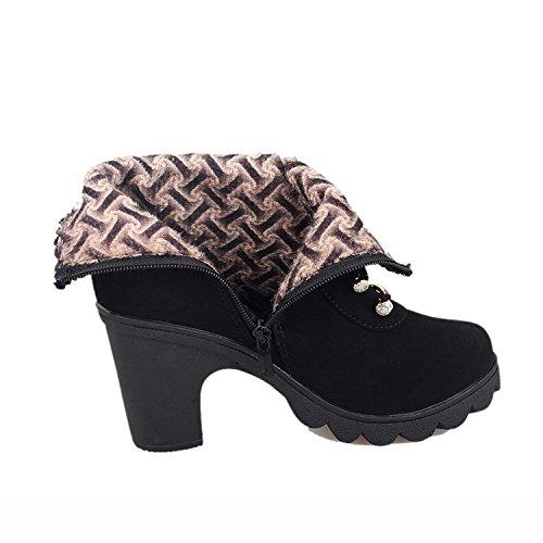 YELLOW black corto botas 35 encaje de Martin NSXZ Botas mujer de retro botas 36 ZxROOUqFS