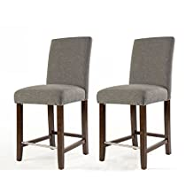 JR Home Collection IF-ST257-GY2PK Harper Counter Stool with Spill Protection and No-Sag Seat-Grey, 2-Pack