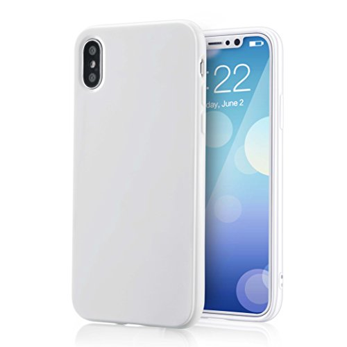 for iPhone Xs White Case, technext020 Shockproof Ultra Slim Fit Silicone iPhone 10 Cover TPU Soft Gel Rubber Cover Shock Resistance Protective Back Bumper for Apple iPhone X White