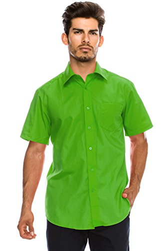 - JC DISTRO Men's Regular-Fit Solid Color Short Sleeve Dress Shirt, Green Shirts (L)