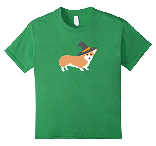 Kids Halloween Corgi Shirt, Funny Cute Witch Hat Costume Gift 12 Grass
