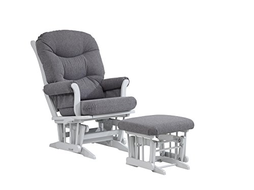 [Dutailier ULTRAMOTION Glider Multi-Position Recline Sleigh and Ottoman Combo, Grey/Dark Grey] (Reclining Glider And Ottoman)