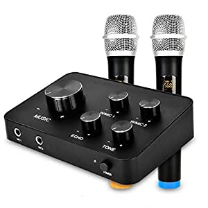 portable karaoke microphone mixer system set with dual uhf wireless mic hdmi aux. Black Bedroom Furniture Sets. Home Design Ideas