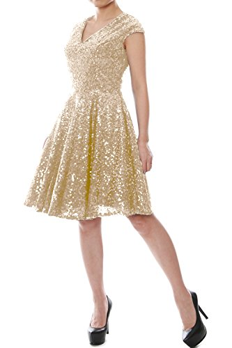 Gown Sequin Cap Women Formal Bridesmaid Champagner Dress Sleeve V Neck MACloth Party Short PAqXw1