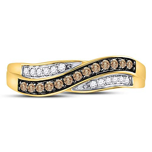 10kt Yellow Gold Womens Round Brown Diamond Band Ring 1 4 Cttw