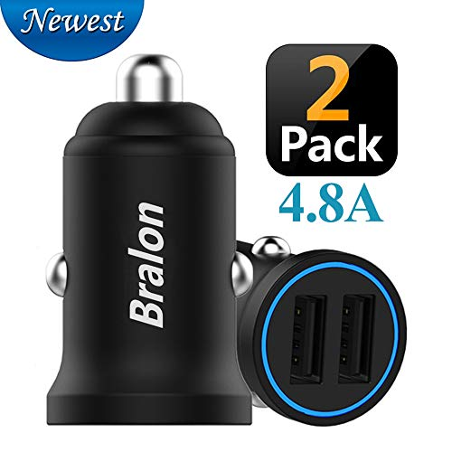 USB Car Charger, Bralon 2-Pack Zinc Alloy 4.8A Dual Port Rapid Car Charger Adapter Flush Compatible iPhone Xs(max)/Xr/X/8/7/6s, iPad Air 2/Mini 3,Note9/Galaxy S9/S8/S7,HTC,LG and More ()