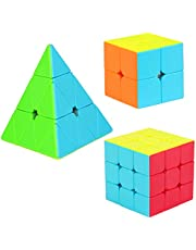 Aitbay Speed Cube Set, Magic Cube Bundle 2x2 3x3 Pyramid Stickerless Cube Puzzle Toys Kids and Adults (3 Pack)