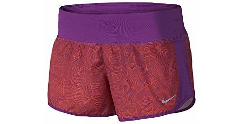 Nike Women's Dri-FIT Crew Printed Shorts (SM x 3, Cosmic Purple (556) /Reflective Silver/Cosmic Purple)