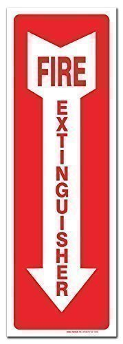 "Fire Extinguisher Sign Self Adhesive 4 X 12"" 4 Mil Vinyl Decal - Indoor & Outdoor Use - UV Protected & Waterproof - Sleek"