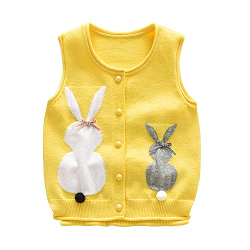 Rabbit Baby Girl Sweater Vest O-Neck Sleeveless Solid Color Cardigan Cotton Blend Soft Kids Outfit Coat Pullover(Yellow, 3-4Years) ()