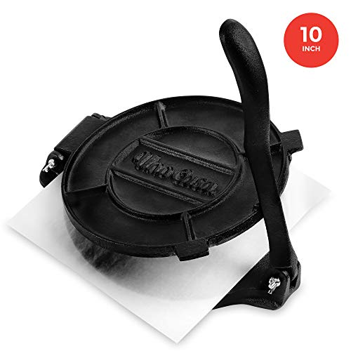 Read About Uno Casa Cast Iron 10 Inch Tortilla Press - Roti and Tortilla Maker - Bonus 100 Pcs Parch...