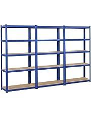 Yaheetech 3x opbergrek 180 x 90 x 40 cm heavy duty rekken kelder plank gepoedercoat in blauw met MDF-rek steekrek 875 kg