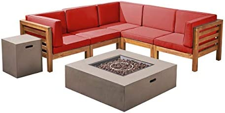 Great Deal Furniture Xanthe Outdoor V-Shaped Sectional Sofa Set