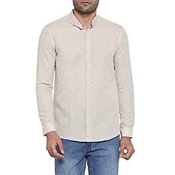 6709055a5 Richard Parker by Pantaloons Men s Plain Slim Fit Casual Shirt  (110029281001 Ecru 38)