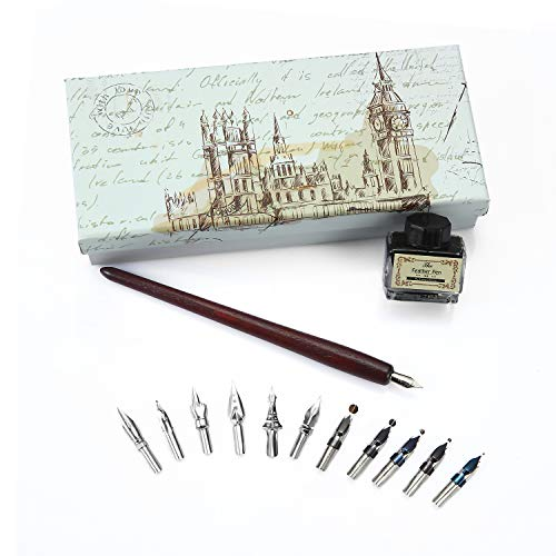 Calligraphy Pen Set Natural Handcrafted Wooden Writing Quill Pen Set with 11pcs Metal Pen Nibs and Black Ink (Writing Quill Pen)