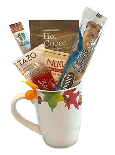 Coffee Tea Cocoa Mug Gift Set with Starbucks Via Coffee, Starbucks Hot Cocoa, Tazo Tea, Honey, Nonni's Biscotti + More -Lots of Cup Styles- (Fall Leaves) (Coffee Baskets For Delivery)