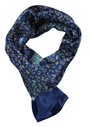 YSSP, Blue Paisley 63'' x 11'' Man's 100 Pure silk scarf wrap Accessory gift by YSSP