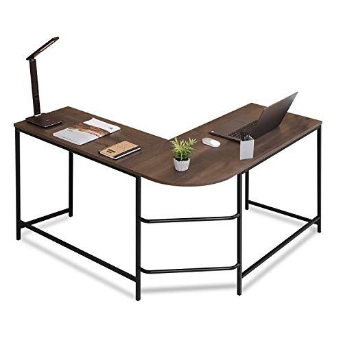 Sekey Home L-Shaped Office Corner Desk | PC Laptop Table Workstation | Computer Desk 3-Piece, Wood top, Smoky Oak