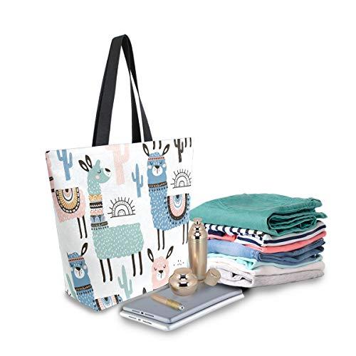 SUABO Llama Canvas Tote Bag Large Women Casual Shoulder Bag Handbag, Reusable Shopping Grocery Bag for Outdoors