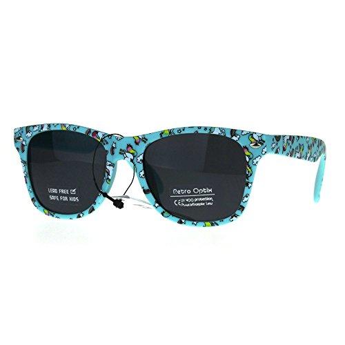 Kids Child Size Girls Unicorn Print Plastic Horn Rim Sunglasses - Rim Plastic