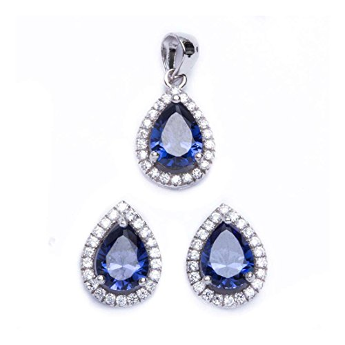 (Halo Jewelry Set Pendant Stud Earrings Pear Shape Simulated Blue Tanzanite Round CZ 925 Sterling Silver)