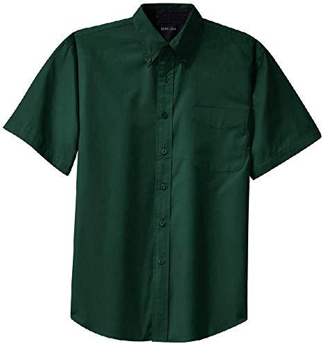 Joe's USA(tm) - Men's Short Sleeve Wrinkle Resistant Easy Care Shirts-2XL, Dark Green/Navy